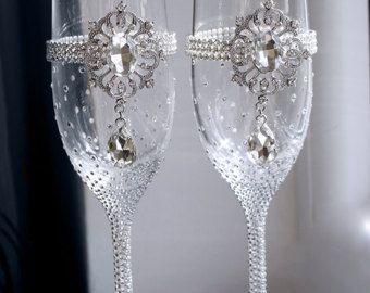 Pesronalized Champagne boda flautas conjunto de por Adeleart