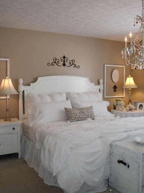 The Shabby Chic bedroom, so pretty but with little dirty hands white may not be so good but I guess I could bleach it.