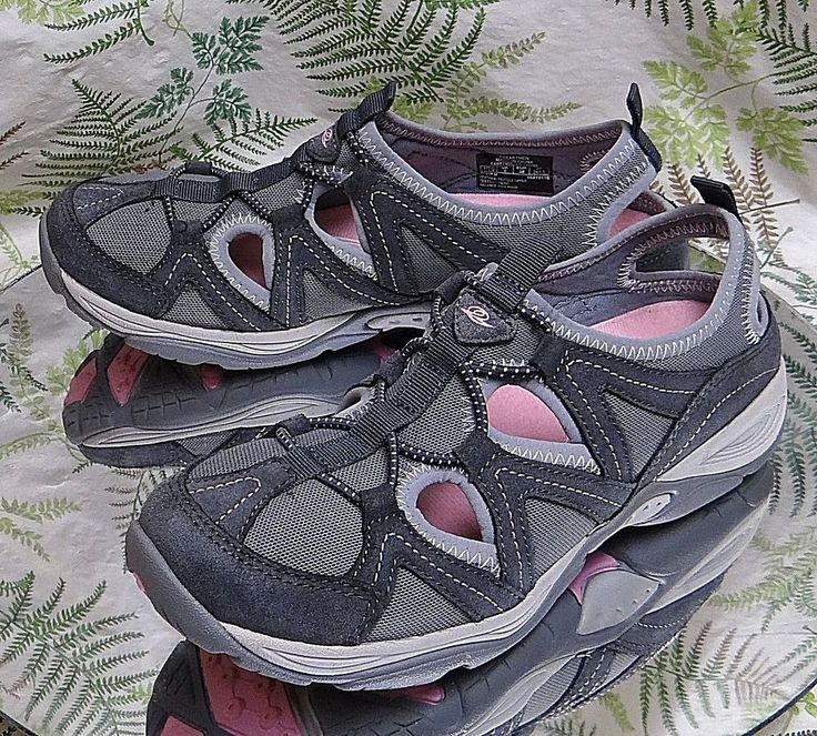 EASY SPIRIT GRAY LEATHER ELASTIC LACED SPORT SANDALS BEACH SHOES WOMENS SZ 7.5 M #EasySpirit #SportSandals #Casual