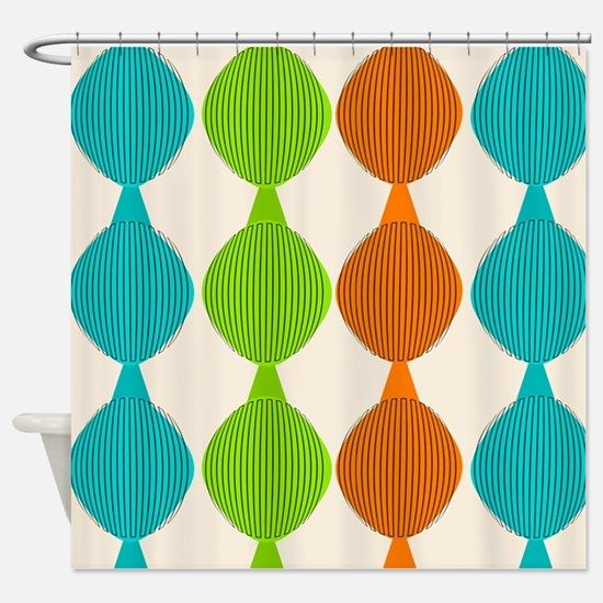 Mid-Century Modern Ovals Shower Curtain for