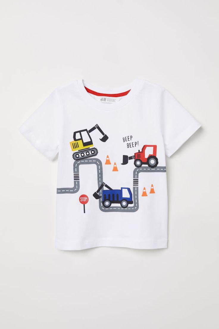 T-shirt - Biały/Roboty drogowe - Dziecko   H&M PL 1