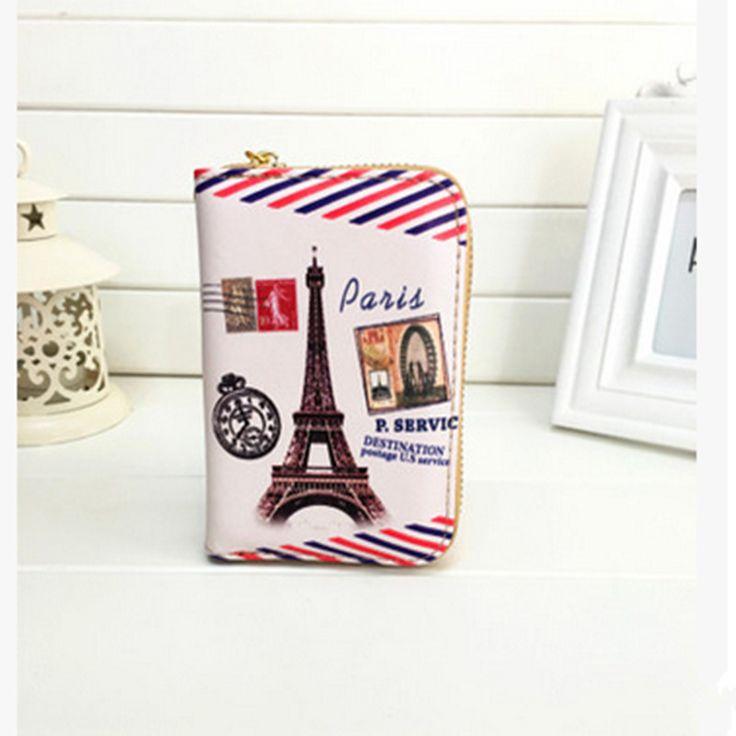2016 Women Wallets Fashion Zipper Eiffel Tower Money Bag Small Coin Female student Portable Cartoon Short Paragraph Purse