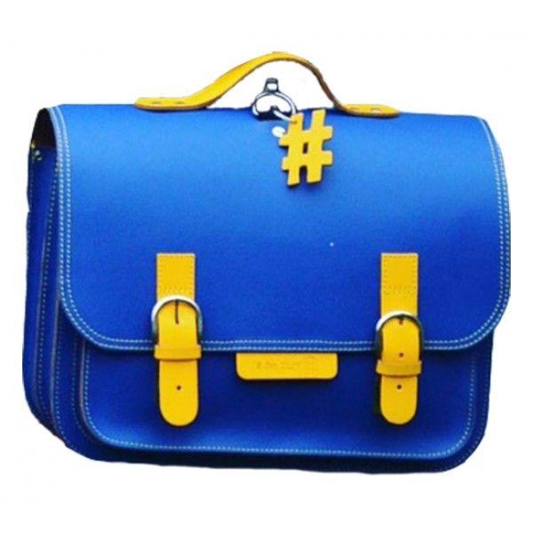 #OwnStuff lederen #boekentas 38cm - #cobalt blauw - geel #satchel #schoolbag #Schulranzen #backtoschool #littlethingz2