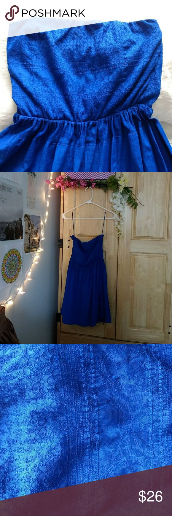Bershka Blue Strapless Dress Beautiful rich blue dress that can be used for formal events you can dress it up or down.   100% Cotton with lining.  Worn once for a graduation. Bershka Dresses Strapless