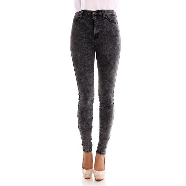 Black Acid Wash High Waisted Skinny Jeans by KMK | style {winter ...