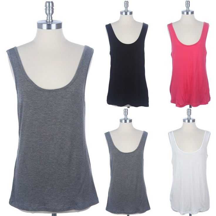 Junior Plus Size- Scoop Neck Tank Top Sleeveless Casual Rayon Span 1Xl 2Xl 3Xl