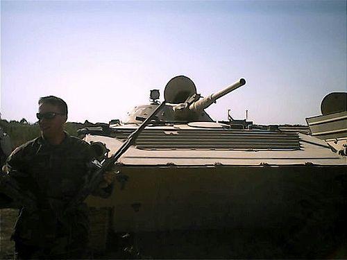 At derelict ex Iraqi Army BMP-1 in tank graveyard.
