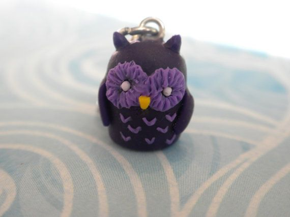 Polymer Clay Owl Charm by claypotater on Etsy
