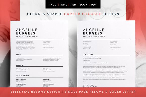 Essential Resume - CV & Cover Letter template. Professional design that's easy to edit and print. Available in MS Word. Photoshop. InDesign. Angeline by bilmaw creative on @creativemarket
