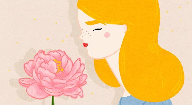 Kris Atomic: Atoms Illustrations, Favorite Artists, Illustrations Inspiration, Favorite Flowers Th, Art Inspiration, Flowers Th Peonies, Krisatom Illustrations, Yellow Hair, Atoms Artworks