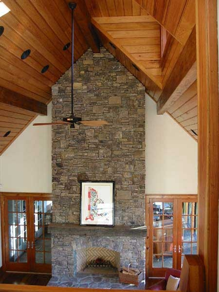 Cathedral ceiling and stone fireplace living room ideas for Cathedral style ceiling