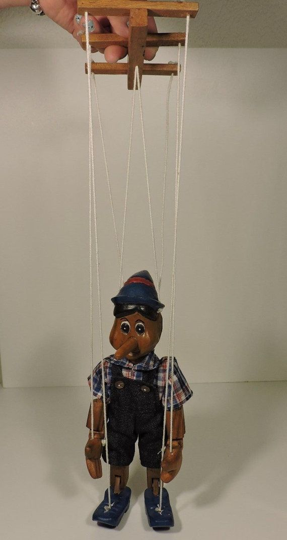 Pinocchio Hand Carved Vintage Marionette Puppet 10 In
