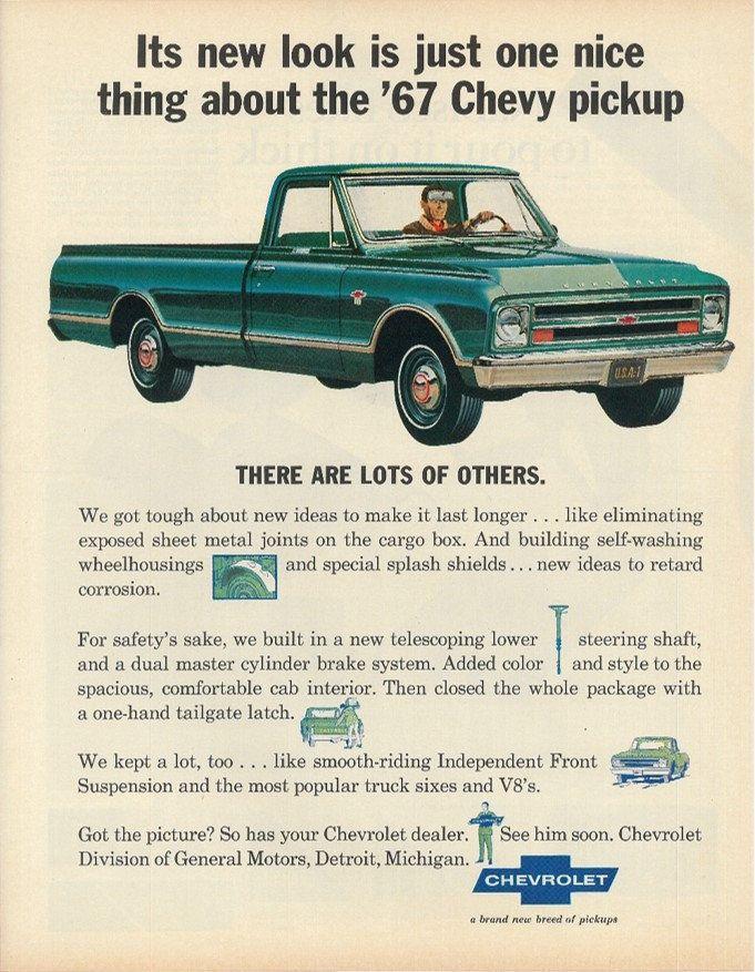 1967 Chevy Pickup Truck Print Advertisement Original Vintage 1960s