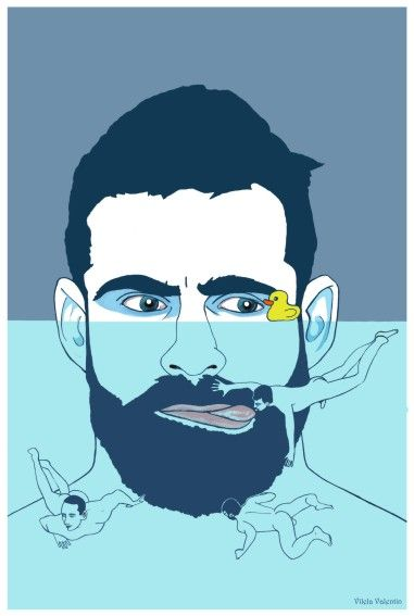 """Gulliver goes to the pool to taste the boys"" – Acrylics on paper – 32cm x 46cm – Vilela Valentin  https://www.redbubble.com/people/vilelavalentin/works/28533095-gulliver-goes-to-the-pool-to-taste-the-boys?asc=u  https://vilelavalentin.weebly.com/gulliver-goes-to-the-pool-to-taste-the-boys.html"