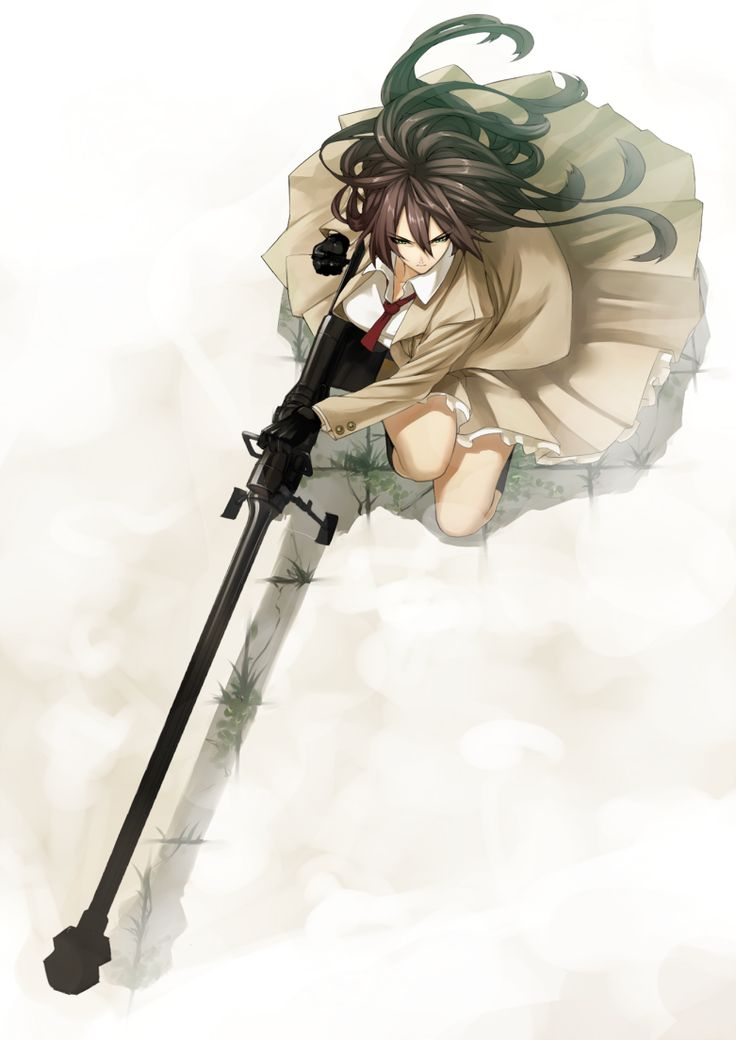 Bipod Bolt Action Brown Hair From Above Gloves Green Eyes Gun Long Coat Necktie Ntw 20 Original Reloading Rifle
