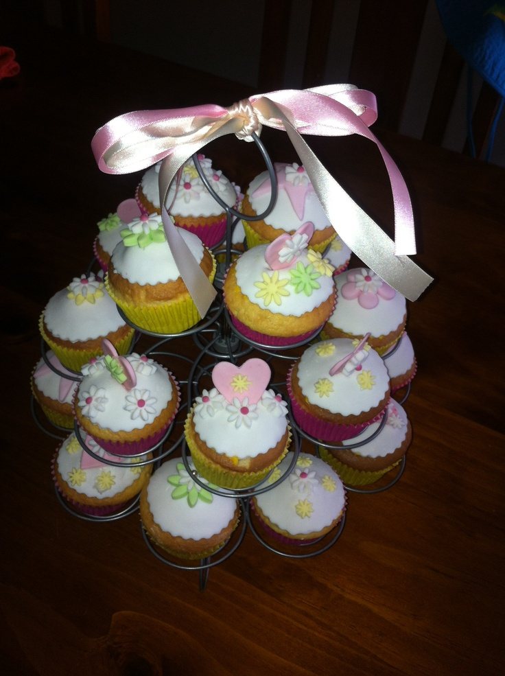 Girl birthday cupcakes pink yellow green fondant