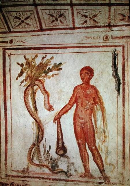 Hercules in the garden of the Hesperides   Unknown   4th century   fresco   33 1/2 x 33 1/2 in   Catacomb of the Via Latina, Rome, Italy