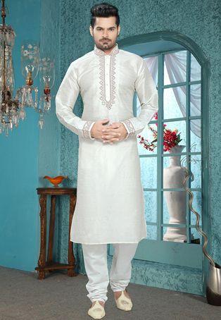 Off White Art Silk Readymade Kurta With Churidar