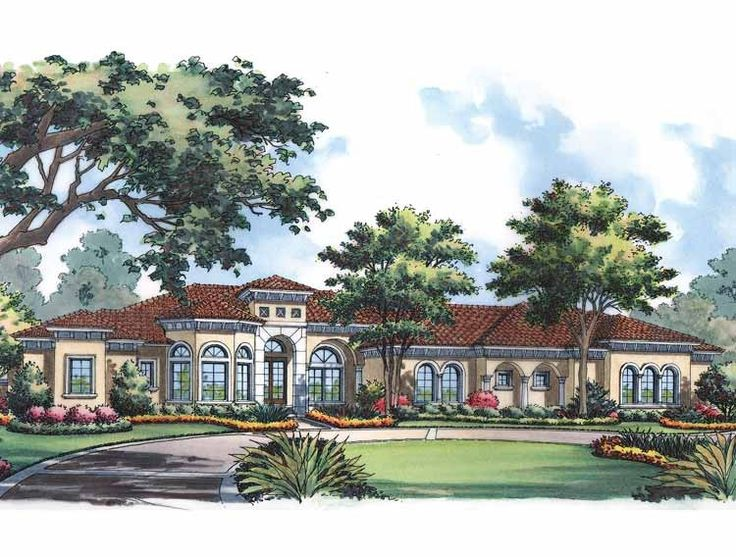 Eplans mediterranean house plan one story mediterranean for One story mediterranean house plans