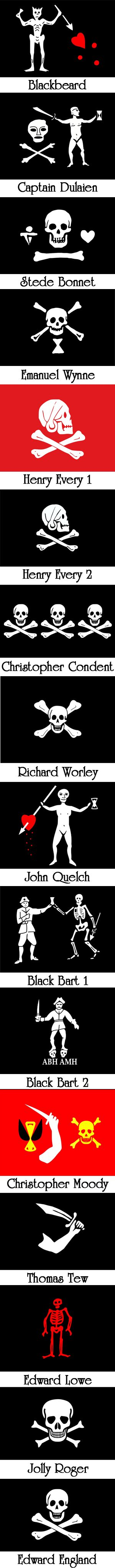 Famous Pirate Flags | Pirate Flags. Black Bart Roberts' flag with ABH and AMH meaning A Barbadian's Head and A Martinican's Head - because they sent out ships to try to catch him. GENTLEMAN OF FORTUNE The Adventures of Bartholomew Roberts, Pirate. www.evelyntidmanauthor.com
