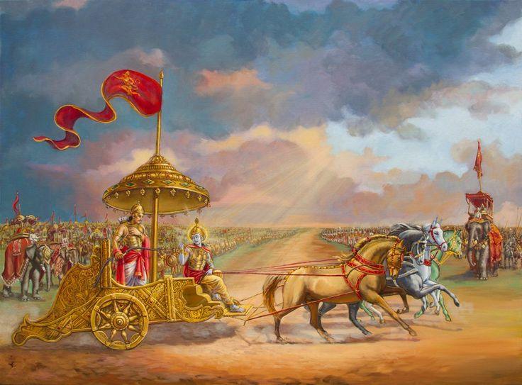 Arjuna and his charioteer Krishna, Bhagavad Gita