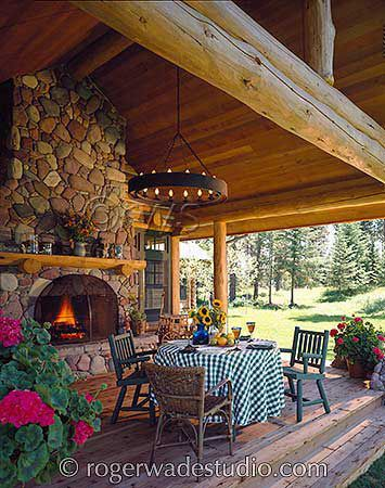 Great porch and fireplace at this Montana log home!