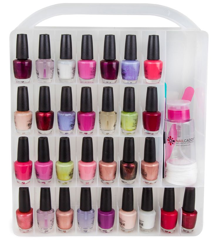 With plenty of storage space for bottles of nail polish and other nail care supplies this Nail Polish Organizer Case is a must-have for any beautician. The two-sided design allows you to store 30 bottles of nail polish in each side for a total of 60 nail polish bottles (not included). The individual compartments keep n