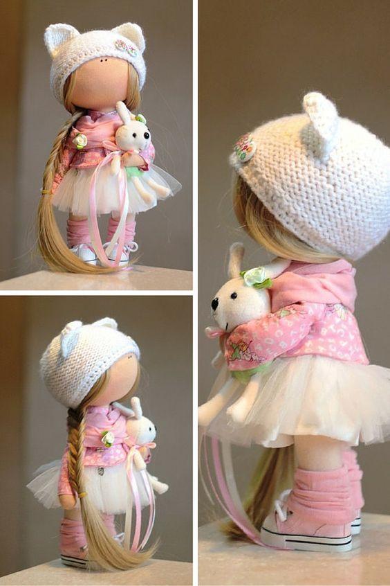 Muñeca de trapo tela muñeca color rosa hecho por AnnKirillartPlace