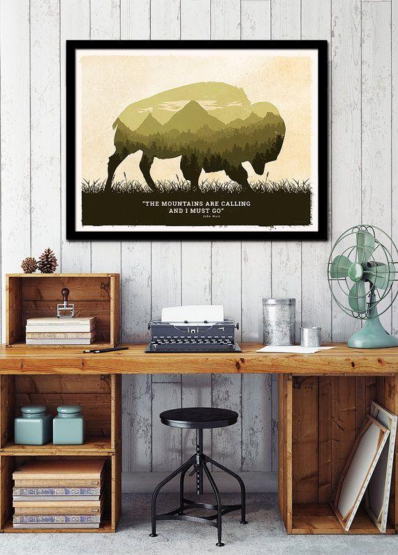 American bison art poster, black bear poster, wolf art poster, Moose poster, american wild life art, National parks animals , animal poster