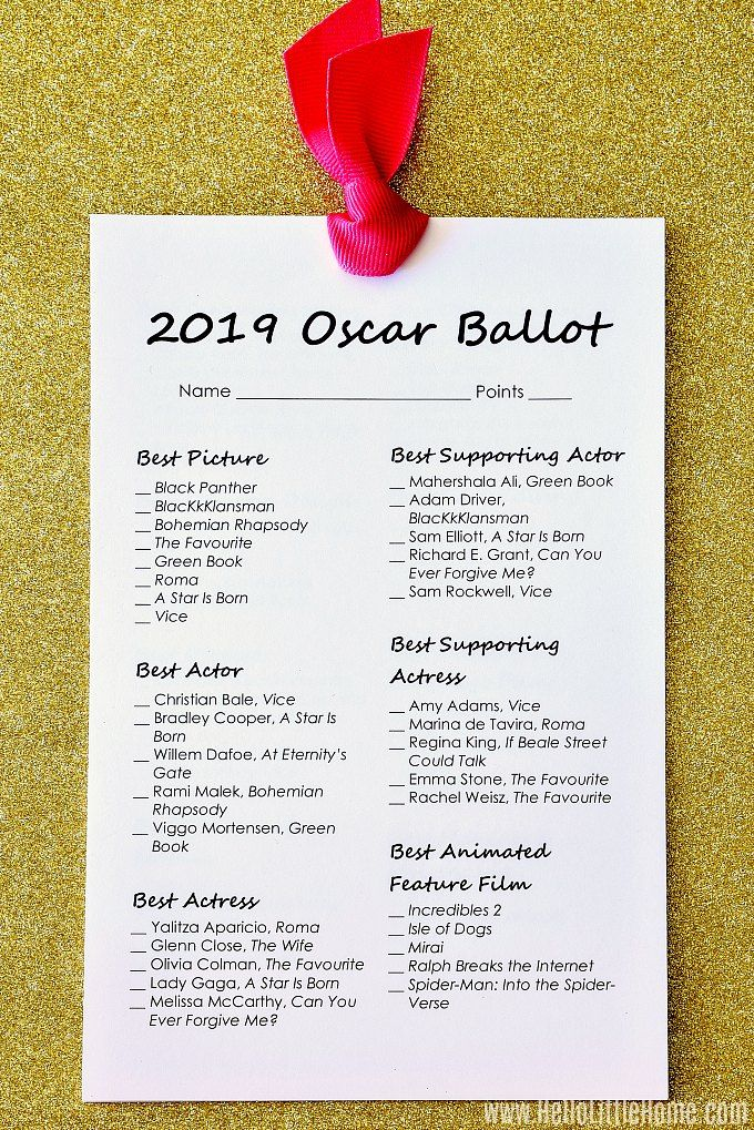photograph relating to Printable Oscar Ballot named No cost Printable 2019 Oscar Ballot Non Alcoholic Beverages