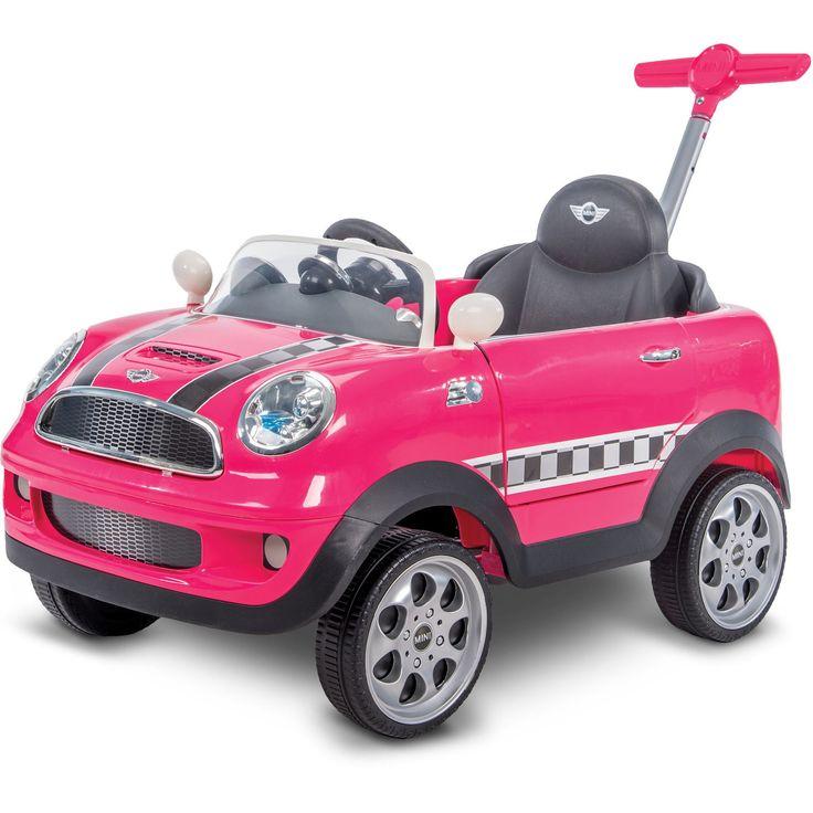 Avigo Foot to Floor Ride On Mini Cooper - Pink With Checkerboard Stripe