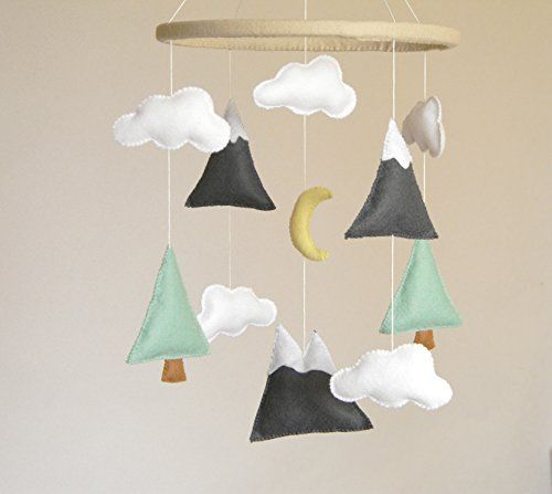 (^_^) Handmade Nursery Mountains Baby Mobile, Baby Crib Mobile, Modern Nursery mobile, Felt Mountains and Tree, Mountain nursery decor, Cloud Cot Mobile, Mint Gray