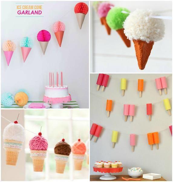 Decorar una fiesta de verano. ¿Qué hay más representativo del verano que los helados? Por eso, aquí vemos cómo preparar una fiesta inspirada en ellos.