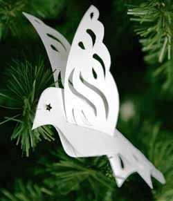 Make Paper Ornaments - by simply sliding the paper wings where you want them. You can download one of these bird designs as a .tif files a .pdf file (for Adobe Acrobat) or download it as a .jpg file.