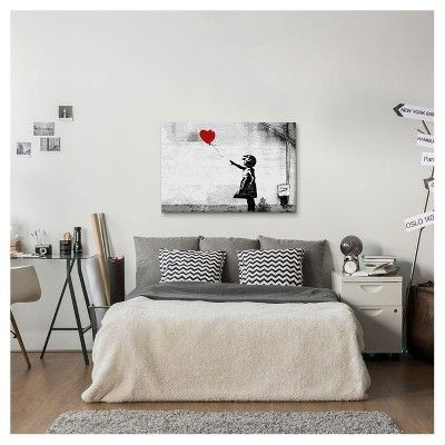 """Girl With a Balloon by Banksy Canvas Print (12""""x 18""""), Gray Red Black"""