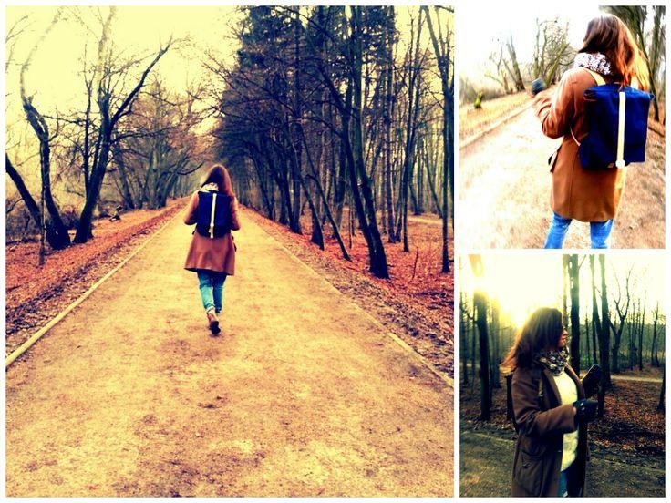 Pati X Tchakon on a winter walk  #backpack #vintage #retro #canvasbackpack #girl