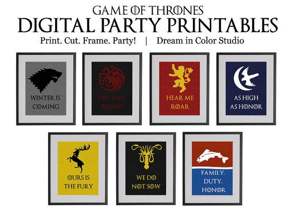 Game of Thrones Digital Party Printables: by dreamincolorstudio