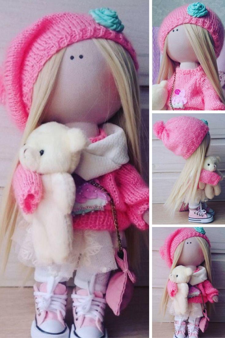 TIlda doll Handmade doll Nursery doll Art doll Fabric doll Pink doll Cloth doll Baby doll Rag doll Interior doll Textile doll by Elvira