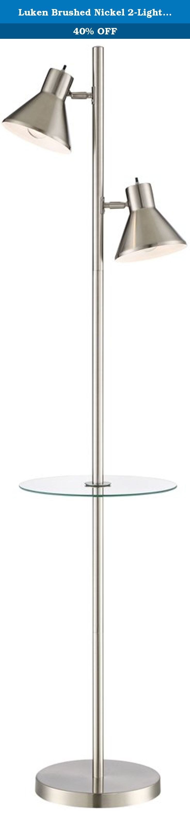 "Luken Brushed Nickel 2-Light Tree Floor Lamp with Table. Two spotlight style shades allow focused lighting in this contemporary tree floor lamp. A clear tempered glass tray table is perfect for drinks, remote or alarm clock. Brushed nickel finish. - 2-light tree floor lamp with glass table. - Brushed nickel finish, metal construction. - Adjustable lamp heads with individual on/off switches. - Two maximum 40 watt or equivalent bulbs (not included). - Measures 65"" high, tempered glass table…"
