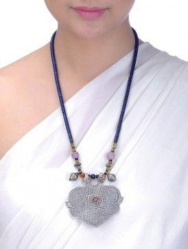 Аметист и лазурит из бисера Урожай Серебряное ожерелье