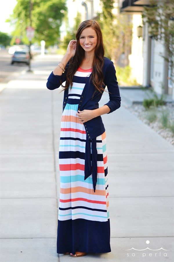 No matter the season, you always need a comfy cute maxi! And luckily this one transitions to fall nicely when paired with our favorite button cardigan!