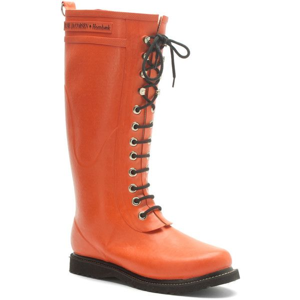 Ilse Jacobsen Women's Rub 1 Boots (199 CAD) ❤ liked on Polyvore featuring shoes, boots, orange, wellies boots, lace up boots, waterproof rain boots, tall rubber boots et wellington boots