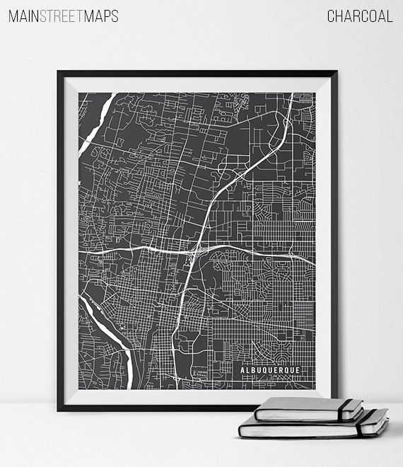 Albuquerque city map on high quality heavyweight paper with archival ink. Frame and mat not included.  CHOOSE A COLOR See the color chart above,