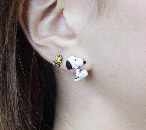 Cute Snoopy and Woodstock Best Friend  Unbalance Earrings