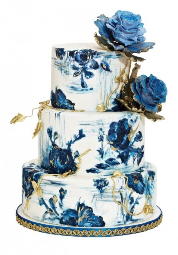 Blue and Gold Rose Hand-Painted Wedding Cake by Nadia & Co.