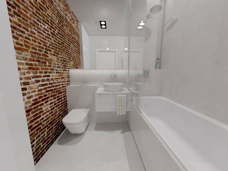 biała łazienka z ceglaną ścianą