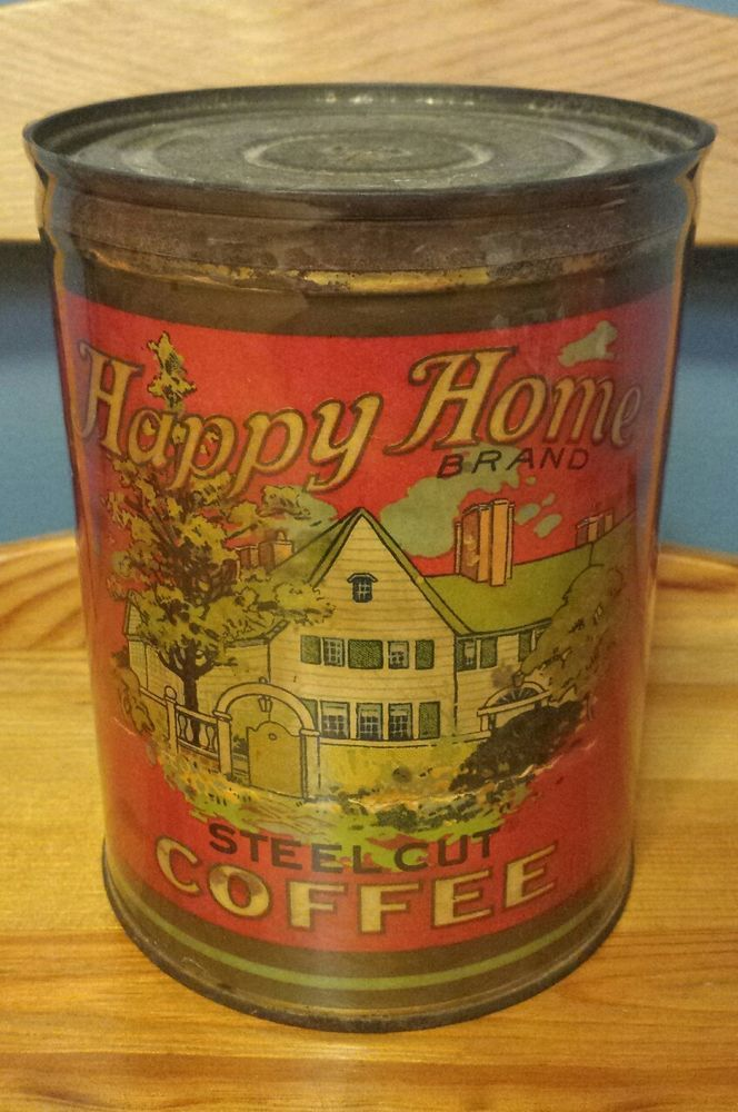 RARE ANTIQUE HAPPY HOME PAPER LABEL COFFEE TIN CAN WULFING GROCER ST. LOUIS MO #HappyHome