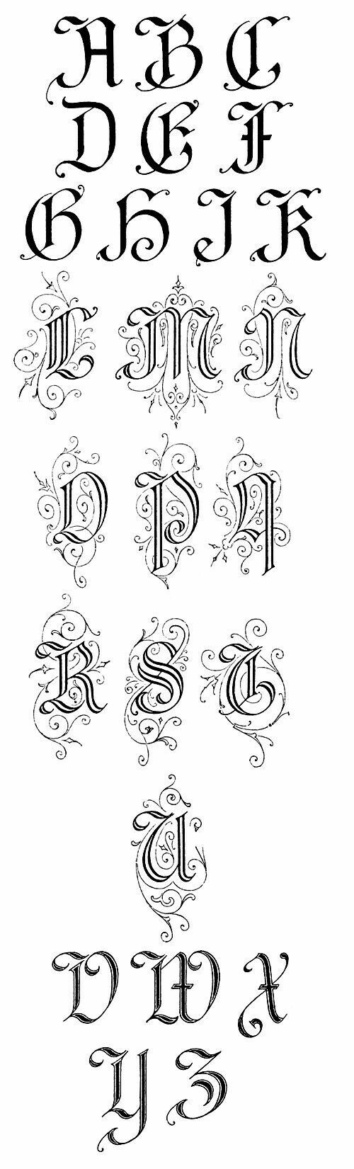 Gothic modified capital letters with coils and spirals #tattoo_fonts_gothic