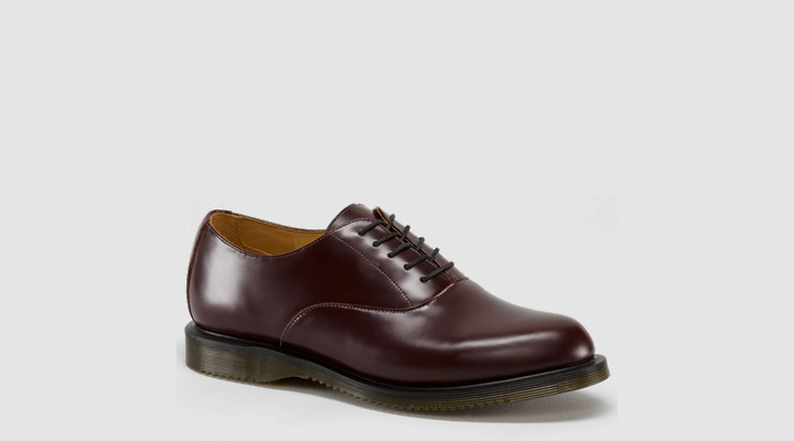 $100 Just the other day I was lamenting how uncomfortable my Johnson and Murphy oxfords are. I'd completely forgotten about DM's. Might be time to revisit them, esp. with this solid oxblood option. (via Valet mag)