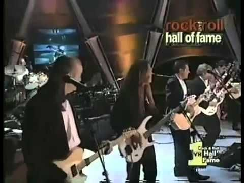 "The Eagles broke their ""no former members"" policy for a single night when they were inducted into the Rock and Roll Hall of Fame in 1998. For the only time in history, all seven Eagles took the stage. ""We said, 'We used to do this with four people, so surely we can do this with seven,'"" says founding guitarist Bernie Leadon. ""It just meant that someone was doubling someone else's part."""